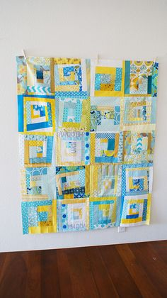 happy yellow and blue quilt