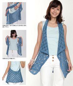 http://images4.ravelrycache.com/uploads/dancingbarefoot/63476390/img57807465_medium2.jpg  free crochet pattern Pierrot Gosyo, Rincon De, Pattern, Crochet Vest, Bolero, Crochet Tops, Frontdrap Gilet, Mi Rincon, Crochet Cloth
