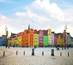 Colorful old houses in Wroclaw, Poland.
