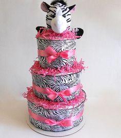 Zebra Baby Shower Diaper Cake  $43.00