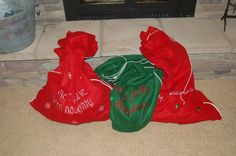 Each year our kids must choose ten old toys to put in their Santa bags. These must be toys in decent shape that other kids would actually want. We leave the bags under our tree on Christmas Eve. Santa takes the old toys back to the North Pole to fix them up he leaves new toys in the bag. Great way to declutter, recycle old toys, and teach the kids about giving. One day! <3