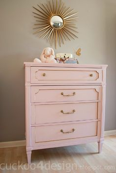 pink and gold dresser - perfect for baby's room