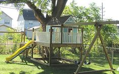 outside playhouse and swingset