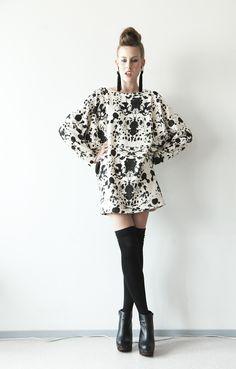 dress #stain #bird #skull #black #white