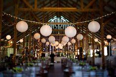 Barn wedding with paper lanterns