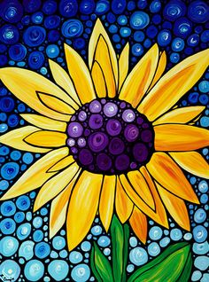 Glory Sunflower Art Print from Painting Colorful Yellow Flower Floral Flowers Fun Happy CANVAS Ready To Hang Large Artwork Happy Fun Spring