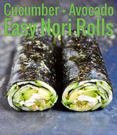 Cucumber and Avocado Easy Nori Rolls on Chocolate & Zucchini: http://chocolateandzucchini.com/recipes/vegetables-grains/cucumber-and-avocado-quick-nori-roll-recipe/