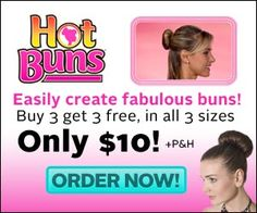 Easily create awesome looking hair buns on your own at home with the as seen on tv product hot buns!