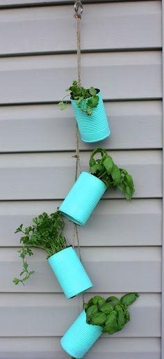 Hanging Tin Can Herb Garden