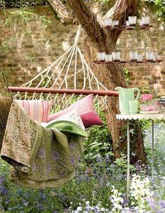 secret gardens, garden ideas, backyard hammock ideas, beauti, swing, place, sweet dreams, backyards, tea lights