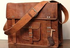 Tanned Leather Satchel Leather Messenger Bag by leathercharm87