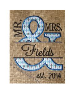 Mr. and Mrs.  Embroidered Design on Burlap  by CreativeLifeGifts