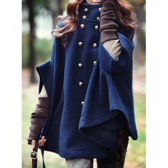 Solid Color Batwing Sleeve Stand-Up Collar Double-Breasted Cape Coat For Women