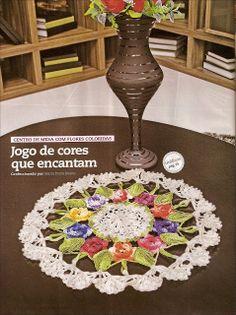 Centro de mesa em croche florido - CROCHE COM RECEITAS