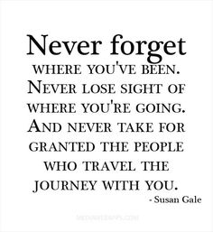 Never forget where you've been//