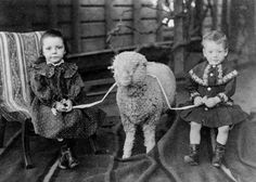 Young girl and boy posing with a lamb, via Flickr.