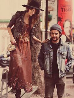 hot couple beanie hat dress denim jacket beard hair tumblr style streetstyle womenswear menswear style together jeans