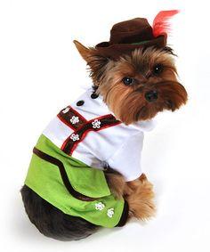 Another great find on #zulily! Green Alpine Boy Lederhosen Dog Costume #zulilyfinds