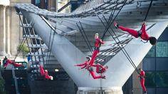 Performers take flight in Trafalgar Square in Surprises: Streb