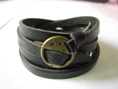 Black Leather Cool Bracelet With Metal Buckle by sevenvsxiao, $11.50