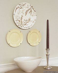 Make your own plate holders tutorial. Unlike many store-bought hangers, the ones shown here can be made to accommodate any size or shape you want to display.