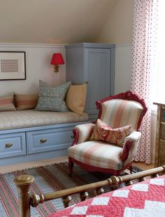 sarah richardson farmhouse bedroom with blues and reds