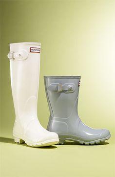 Hunter 'Short' rain boot, light grey