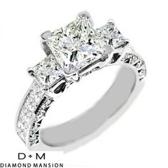 Three stone princess cut engagement ring in filigree setting  $3995  #splitshank #engagement #engagementrings #jewelry #uniqueengagementrings #weddings