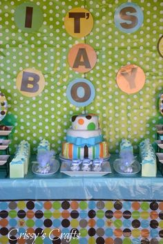 Fun backdrop at a boy baby shower!  See more party ideas at CatchMyParty.com!  #partyideas #babyshower