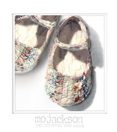 baby shoes made from old quilt.  How cute is this, I ask??