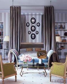 Moody colors. Bedroom with Purple Stripe Wallpaper