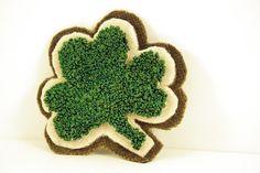 Shamrock punchneedle pin by etsy seller HarpandThistle