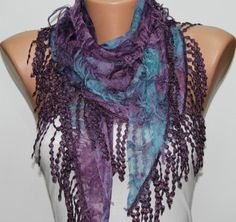 Purple Blue Scarf  Headband Necklace Cowl with Lace by fatwoman, $17.00