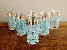 Mid Century Bar Glasses Turquoise and Gold Highball Barware. $56.00, via Etsy.