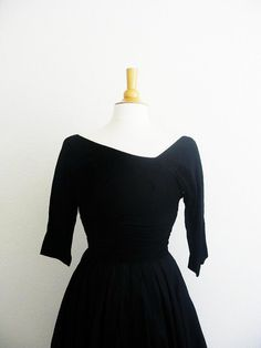 Vintage 1950's Asymmetrical Black Silk Dress
