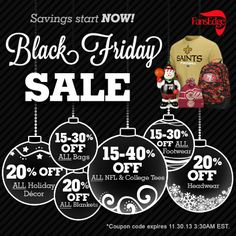 Black Friday Savings start today! Score an EXTRA $10 off ALL orders over $50… Plus get FREE shipping. Use code: FETENEXTRA during checkout. Also be sure to shop our Black Friday Deals and save up to 40%.  http://www.fansedge.com/source/sclfe12-pnt-112713-blackfriday