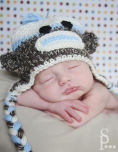 Sock Monkey Hat by iheartuboutique on Etsy, $25.00  Photography by: Crystal at Serendipity photography  http://www.serendipity-photographyblog.com/