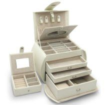 Morelle Diana Leather Purse Jewelry Box with Takeaway Case, Cream