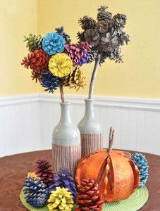 Add something beautiful to your fall decoration ideas by making a Radiant Pinecone Topiary! This makes for a gorgeous centerpiece. | AllFreeKidsCrafts.com