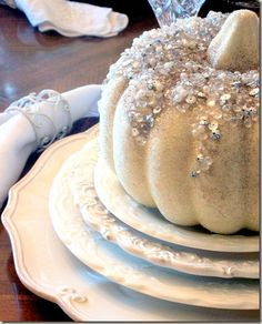 DIY: Fall Pumpkin Bling  for centerpiece!! Just frost the pumpkin and add LOTS of bling!! Make this your's and rock it with your own colors and designs!!