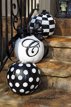 DIY Decor: Painted pumpkins could have a Halloween message, your address, or your monogram.