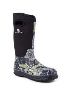 "Roper Women's 12"" Waterproof Barn Boot - Black/Paisley"