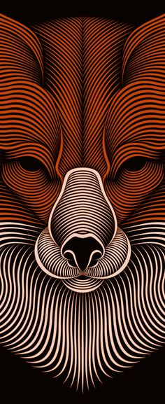 Fox by Patrick Seymour, via Behance animal heads, 3d character, contemporary artists, poster animation, patrick seymour, design art, the artist, fox illustrations, line art