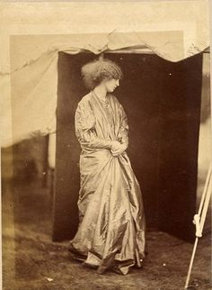 """Jane Burden.....Photograph by John Robert Parsons, taken in 1865 at the London home of Dante Gabriel Rossetti, who invited him to photograph his favorite model (& lover), Jane Burden. Jane was also married to William Morris. ___ Part of an exhibition entitled, """"A Ballad of Love and Death: Pre-Raphaelite Photography in Great Britain, 1848-1875"""" at Musee d'Orsay, Mar 3- May 29, 2011"""