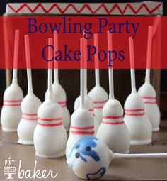 Bowling Party Cake Pops - bowling pins and a bowling ball, so cute!
