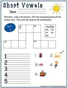 Crossword Puzzle Phonics Fun, Set 1. Short Vowels and Long Vowels (with & w/out word bank)$