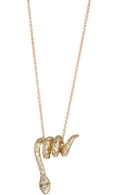 Ileana Makri Gold & Diamond Curled Snake Pendant Necklace