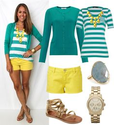"""""""Spring / Summer 2013 Turquoise and Yellow Outfit"""" by natihasi on Polyvore"""
