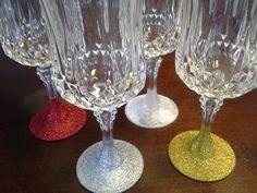 Making the Ordinary Beautiful, Glitter wine glasses!