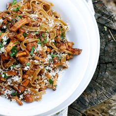 Tagliatelle with mushrooms.This quick-and-easy pasta dish can be whipped up after a busy day but is impressive enough to serve dinner guests.